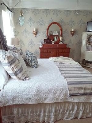 stenciled wall in master bedroom   DIY beautify