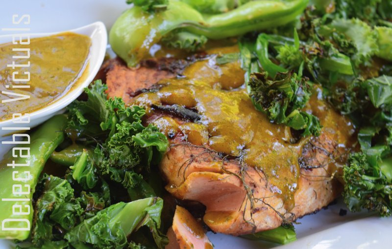 Salmon with Fig Chipotle Mint Sauce