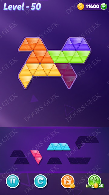 Block! Triangle Puzzle 5 Mania Level 50 Solution, Cheats, Walkthrough for Android, iPhone, iPad and iPod