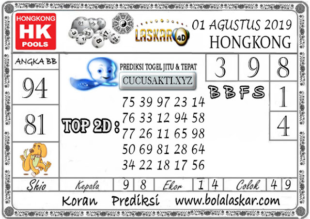 Prediksi Togel HONGKONG LASKAR4D 01 AGUSTUS 2019