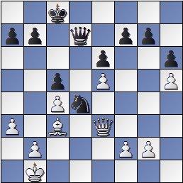 Posición partida de ajedrez Pilnik-Pomar 1946, después de 27. De3