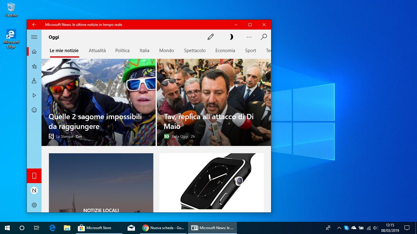 Microsoft News per Windows 10 ottiene notifiche personalizzate