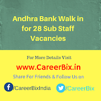 Andhra Bank Walk in for 28 Sub Staff Vacancies