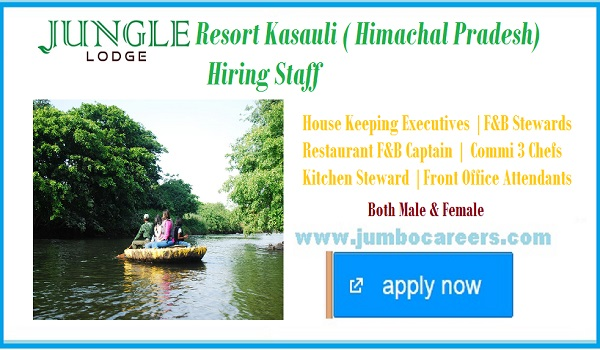 Latest Indian resort jobs, house keeping executive jobs,