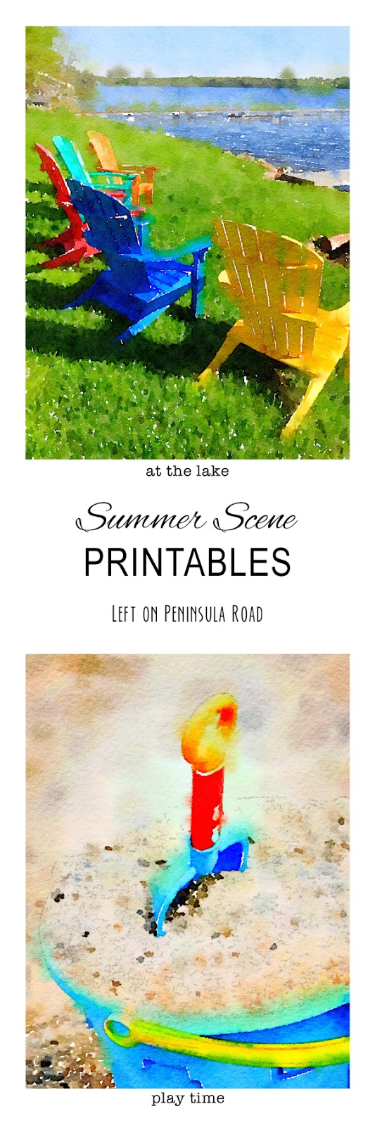 Free Printable Summer Watercolor Scenes. Great for summer shelf decor.