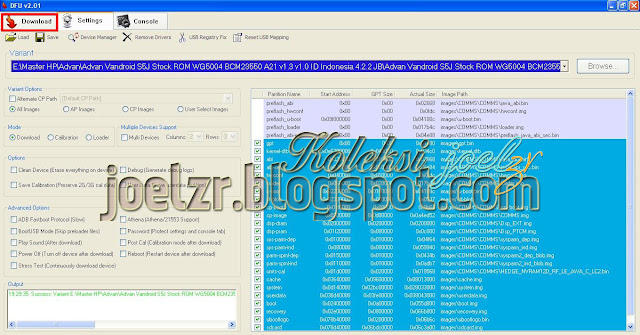 flashing    Advan S5J-WG5004 BCM23550 A21 v1.3 v1.0  tested