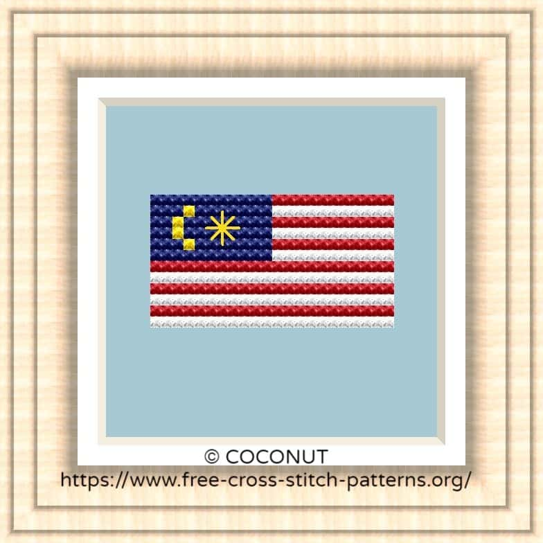 NATIONAL FLAG OF MALAYSIA CROSS STITCH CHART