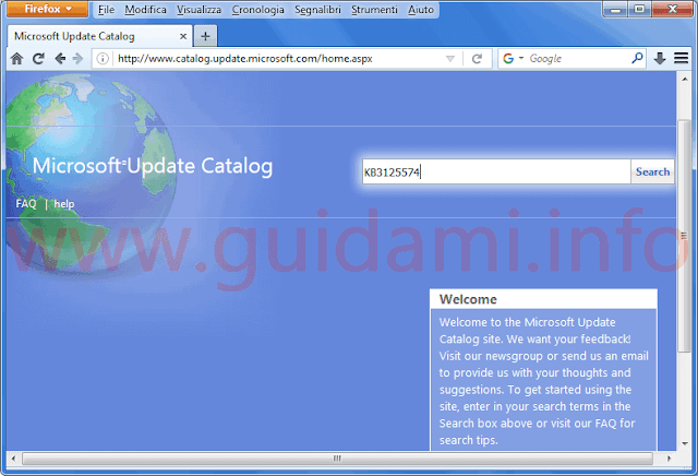Microsoft Update Catalog home page