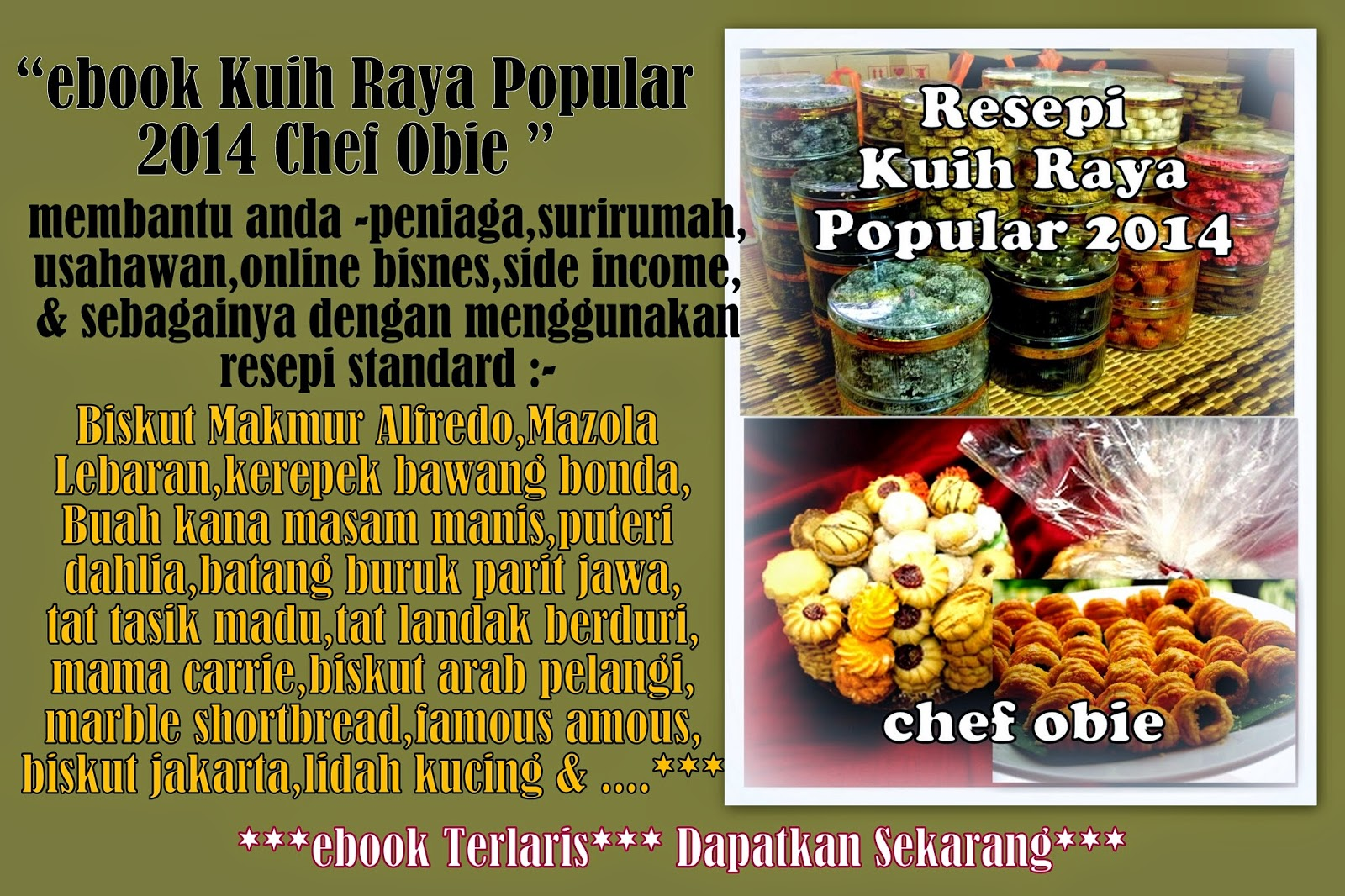 chef obie kelas masakan  info resepi kelas biskut raya chef obie  modul barat Resepi Biskut Mazola Chef Hanieliza Enak dan Mudah