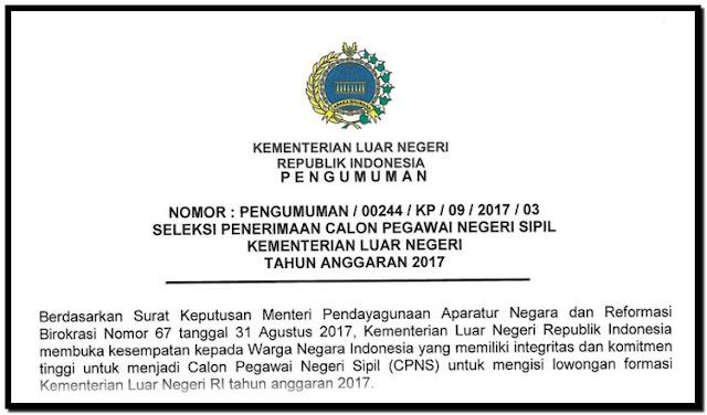 Syarat Mutlak Pendaftaran CPNS Kemenlu