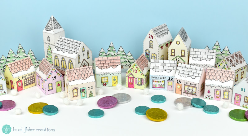 Christmas Church and Advent Calendar Village - printable boxes to colour in a make up yourself - available from hfcSupplies on Etsy. Hazel Fisher Creations