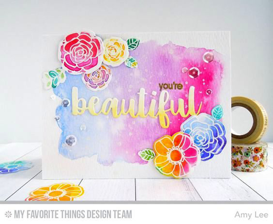 You're Beautiful Card by Amy Lee featuring the Snuggle Bunnies stamp set, Pretty Posies stamp set and Die-namics, and the Hello Beautiful Die-namics #mftstamps