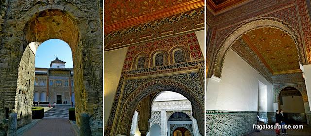 Detalhes decorativos do Palácio Mudéjar do Real Alcázar de Sevilha
