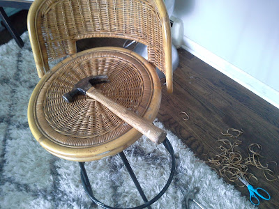 mid century wicker rattan bamboo metal bar stool