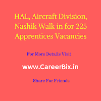 HAL, Aircraft Division, Nashik Walk in for 225 Apprentices Vacancies