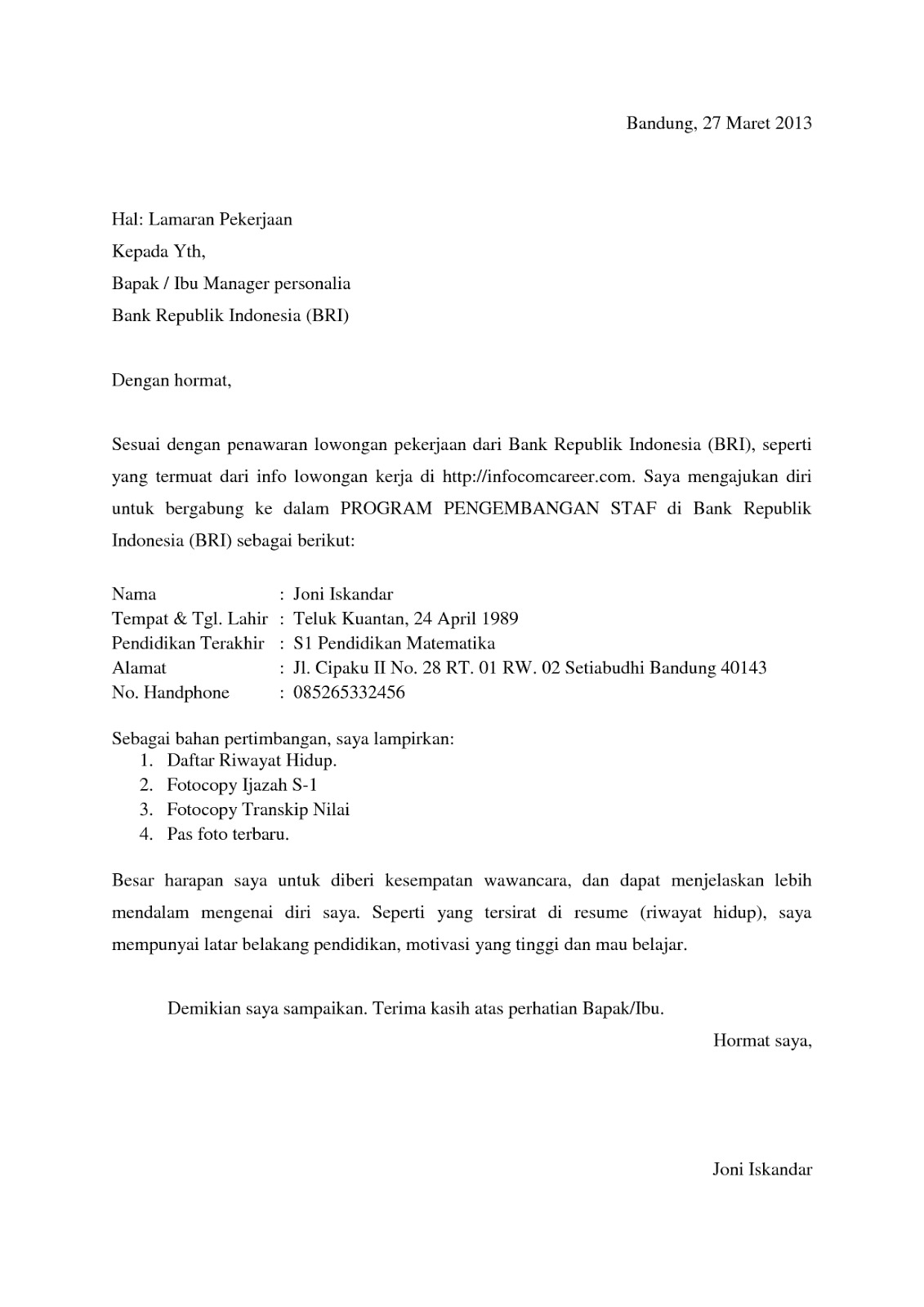 Contoh Surat Lamaran Kerja Bank Bri Surat Lamaran Kerja