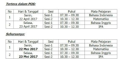 Ralat Jadwal UNKP SMP MTs dan SMPLB (Susulan) Pada POS UN 2017