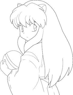 Inuyasha And Kagome Coloring Pages Cartoon Characters
