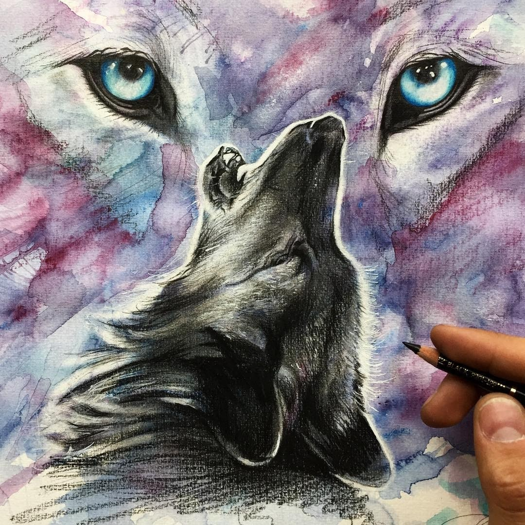 02-Lone-Wolf-Liam-James-Cross-Wild-Animals-Drawings-and-Paintings-www-designstack-co