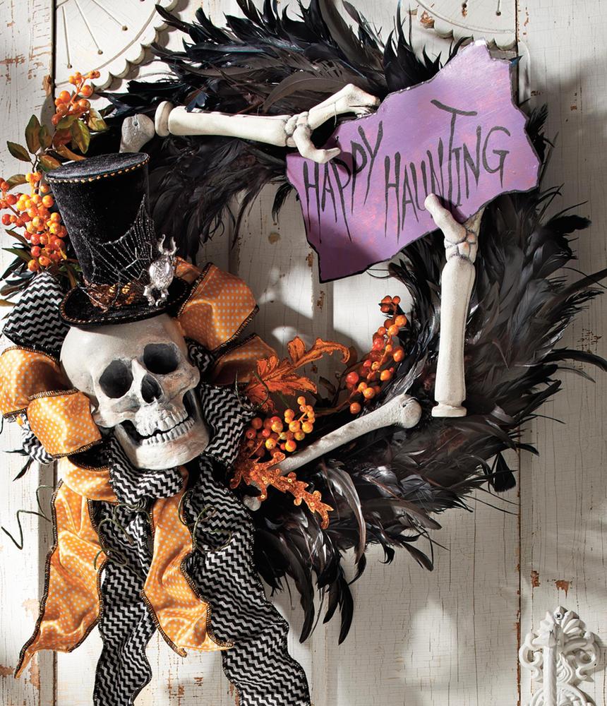 "Grandin Road ""Happy Hauntings"" Wreath"