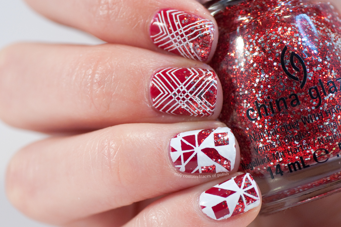 Red And White Glitter Nail Art May Contain Traces Of Polish