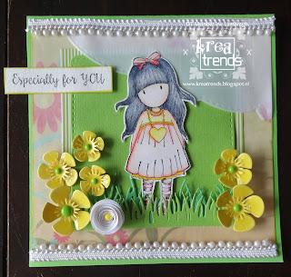 Kaart gemaakt met Gorjuss stempels en snijmallen buttercup Flowery Precious Marieke