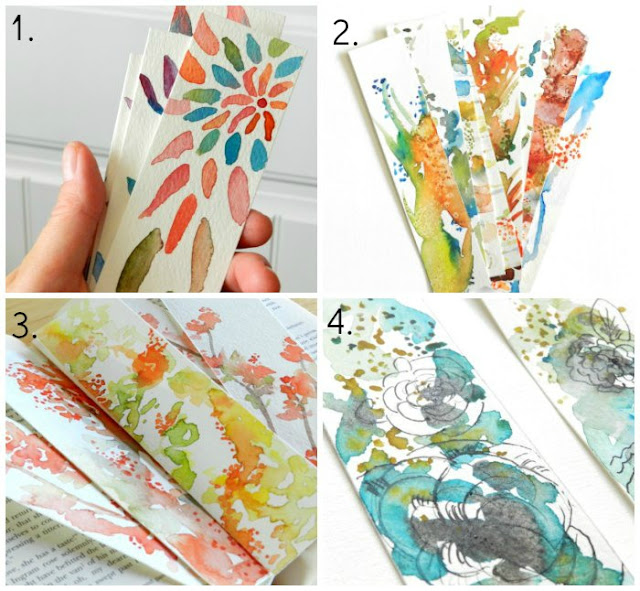 Watercolor Bookmark Designs by GrowCreativeBlog