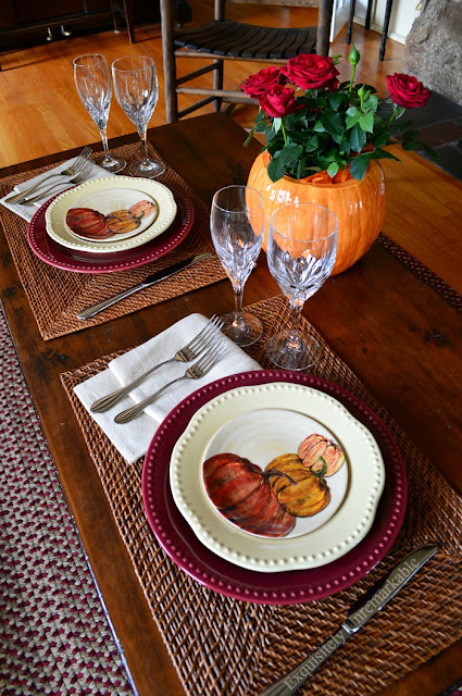 Pumpkin Dishes and Autumn Table Setting