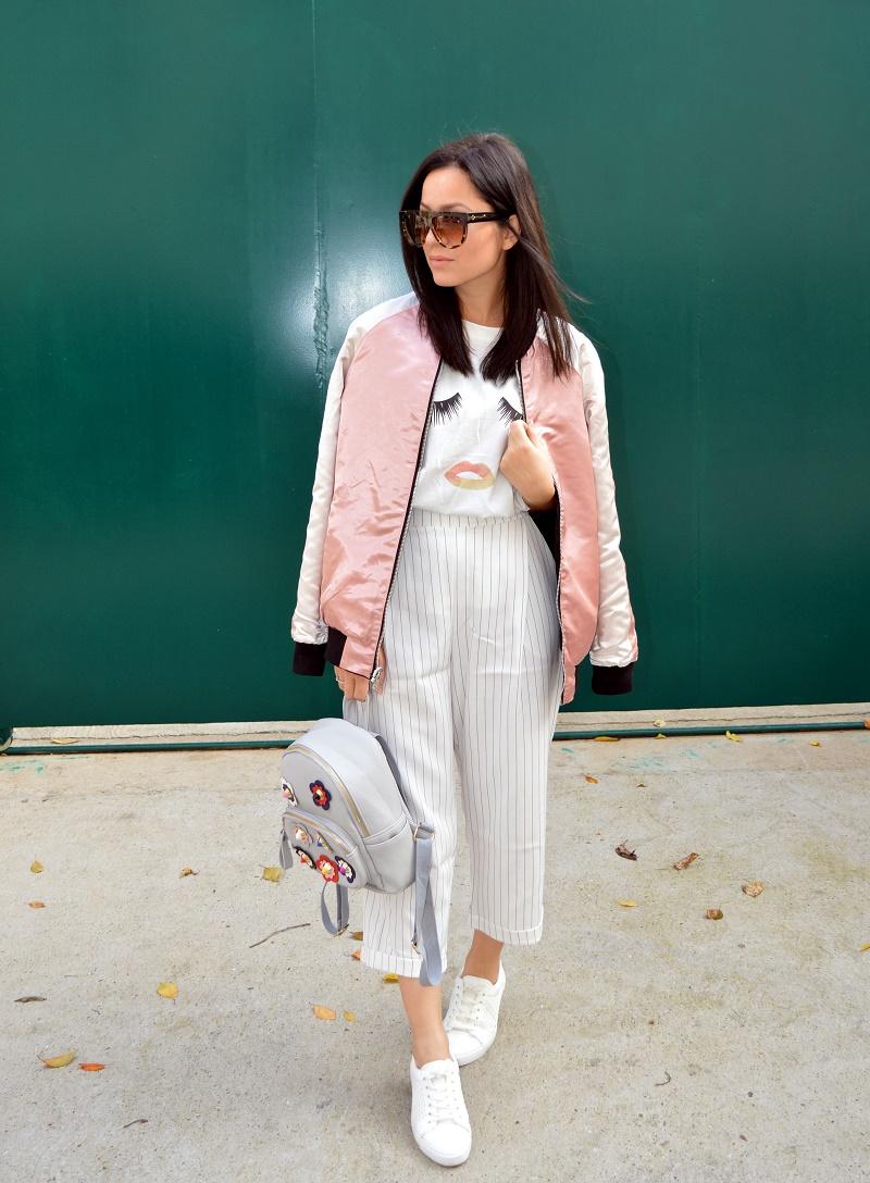 pink bomber jacket backpack with flowers celine sunglasses