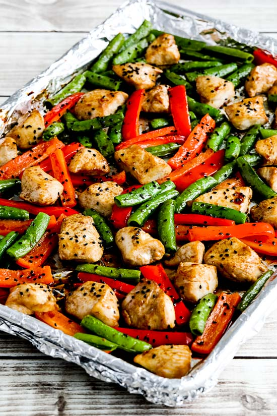 Low-Carb Chicken Stir-Fry Sheet Pan Meal found on KalynsKitchen.com