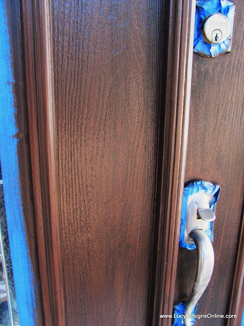 painting a front door in decorative metallic finish