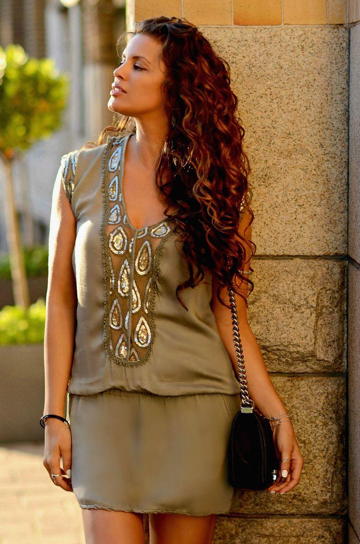 Bronde hair, Ombre hair, Curly hair, Tamara Chloé, TC Style Clues, Chanel Boybag, Kakhi Tunic Dress, Brazilian Blowout