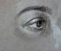 "Charcoal drawing of ""An Eye"" by Manju Panchal, on Strathmore Gray Toned paper"