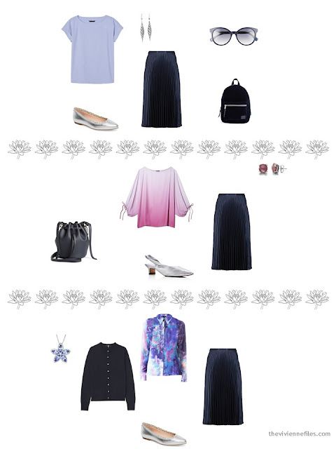3 ways to wear a navy skirt from a 4 by 4 Wardrobe inspired by Monet