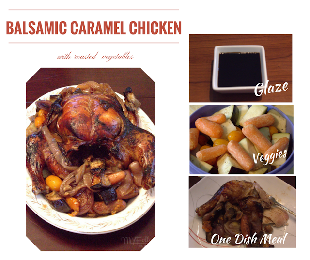 Balsamic Caramel Chicken with Roasted Vegetables / This and That #chicken #dinner