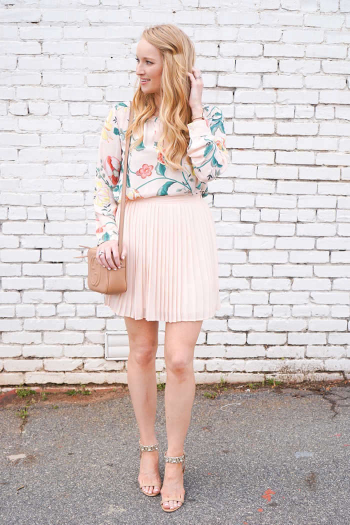 how to style a skirt and top, strawberry chic, loft vine top, peplum skirt, what to wear to a spring wedding