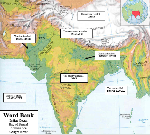 World history ancient india map for completing your physical map ancient india map for completing your physical map activity gumiabroncs Choice Image
