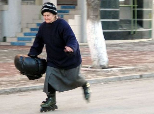 Old woman skating