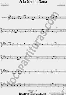 A la Nanita Nana  Partitura de Clarinete Sheet Music for Clarinet Music Score