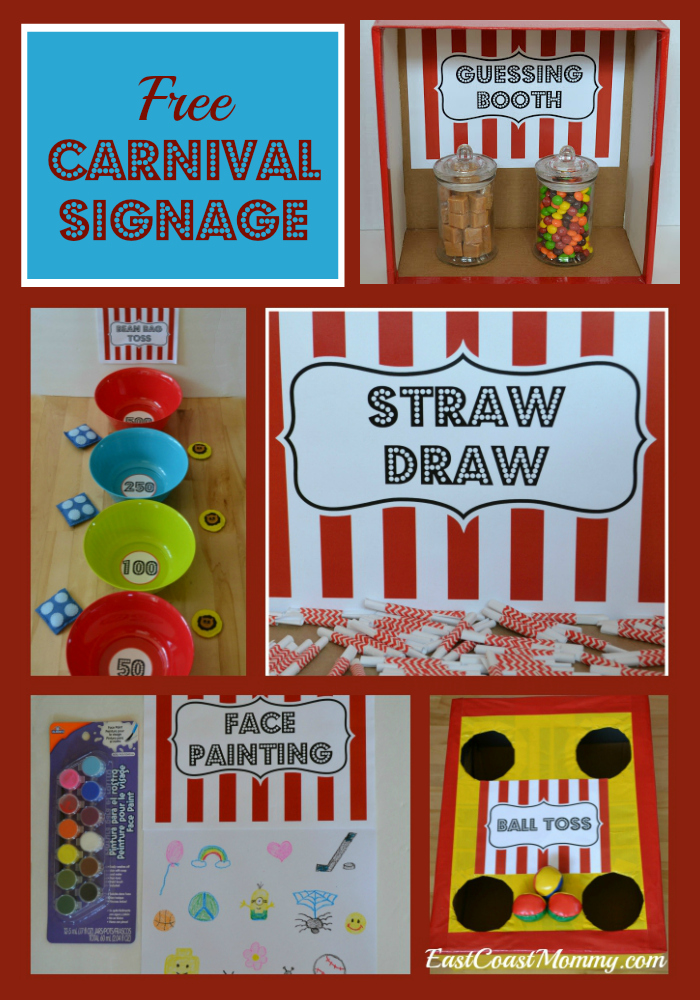 picture regarding Free Printable Carnival Signs named East Coastline Mommy: Carnival Signage