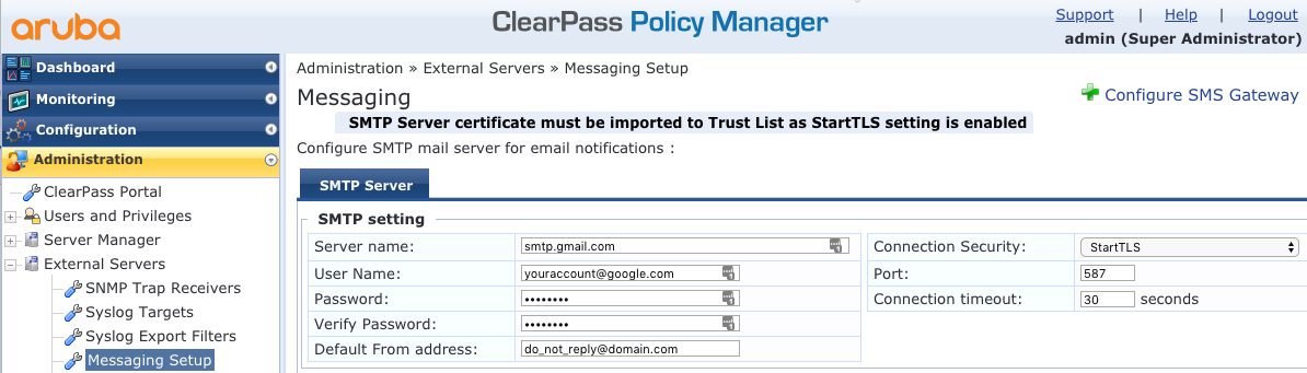 Clearpass - Using GMail for SMTP