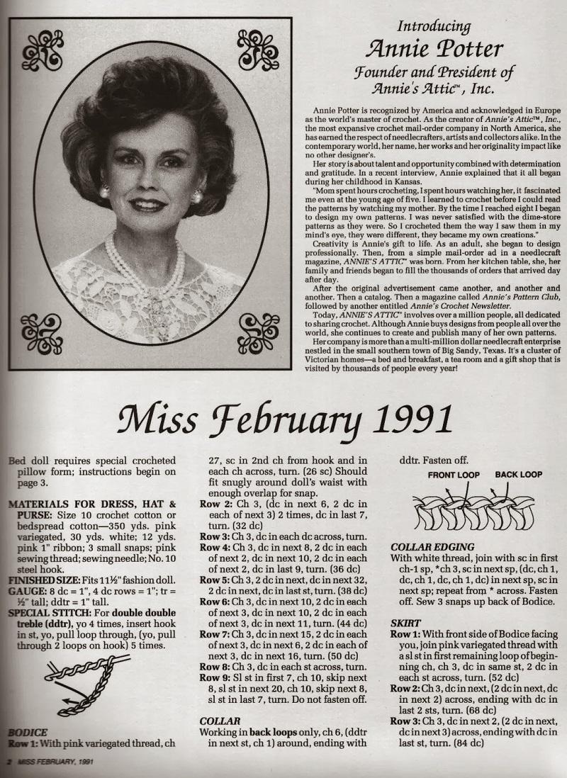 Vestido de Crochê Para Barbie Coleção Calendário Senhorita Fevereiro 1991