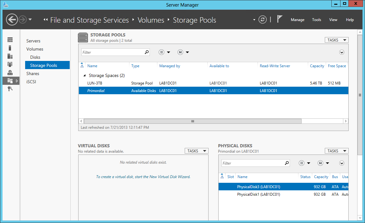 WS2012 Storage - Creating a Storage Pool and a Storage Space