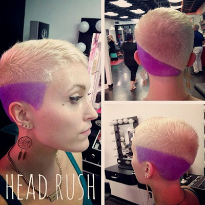 Extra Short Blonde Pixie with Purple Section