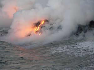 Lava drips into the sea, Hawaii big island