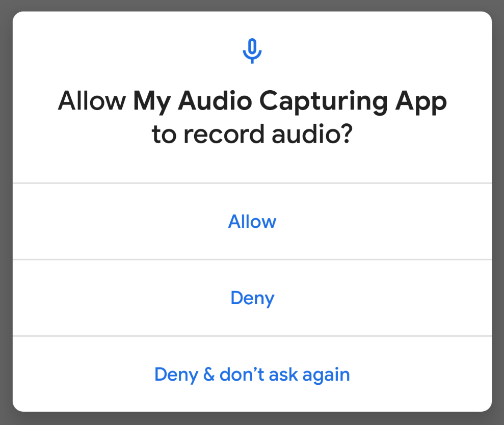 AUDIO_RECORD permissions dialog