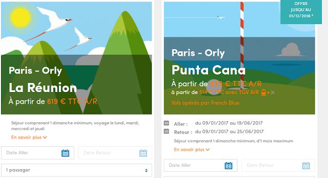 Vente Flash Air Caraibes : la Réunion et Punta Cana départ Paris Orly