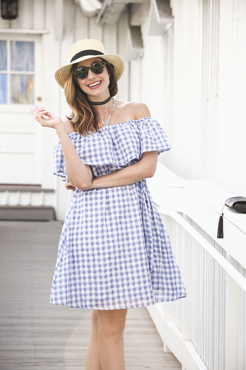 Fashion blogger Amy West in gingham spring dress from Anthropologie