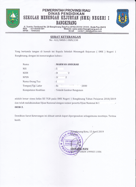 Surat Keterangan Mengikuti Ujian Nasional