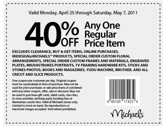 Sheryl's Crafting Corner: Michael's Coupon for 2 weeks